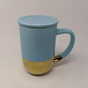 David's Tea Blue Gold Mug with Lid